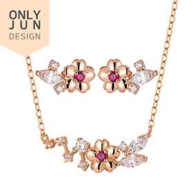 14K / 18K I love you cherry set [Necklace + earring]