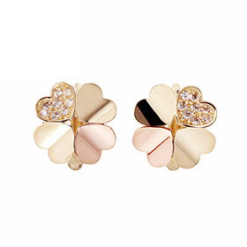 14K / 18K Heart Clover earring / earrings [overnightdelivery]