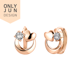 [Shopping Bag Gift] 14K / 18K Heart Full Moon earring [overnightdelivery]