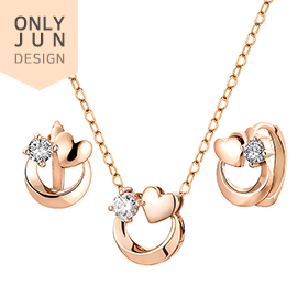 14K / 18K Heartfull Moon set [Necklace + earring] [overnightdelivery]