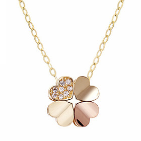 14K / 18K Heart Clover Necklace [overnightdelivery]