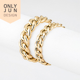 14K Hollow curve (yellow) chain ring [2 families 1]